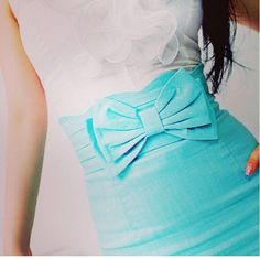 Tiffany blue bow skirt.