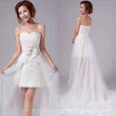 Beach Sheath/Column Strapless Mini-Length Wedding Dress : Tbdress.com
