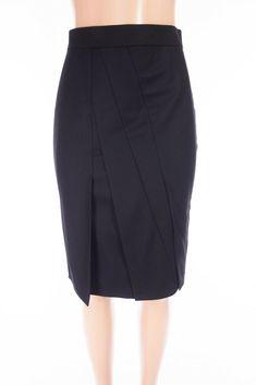 AKRIS Wool Pencil Skirt 8 M Black Center Pleated Exposed Diagonal Rear Zip #AkrisPunto #StraightPencil #Work