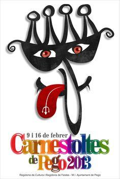 Cartel del Carnaval de Pego 2013.  Autor: Alfonso Giménez Ventura.  Título de la obra: Mascarada