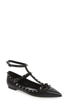 Valentino Valentino 'Rockstud' Double Ankle Strap Pointy Toe Flat available at #Nordstrom