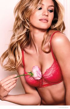 Candice Swanepoel wear lace bras for Victoria's Secret Lingerie 2015 Photoshoot