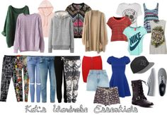 Kat's Wardrobe Essentials  Kat's style can be described as sporty, trendy and fun. The clothes she wears are normally very colourful, with bright or block colours, and interesting patterns such as aztec-style or animal patterns. Essential items: patterned leggings, track pants, ripped jeans, bodycon skirts, maxi dress, bodycon party dress, oversized tops, graphic shirts, sweaters, hoodies, large cardigans, beanies, straw hat, fedora. Shoes: mainly converses and sneakers, sometimes flat...