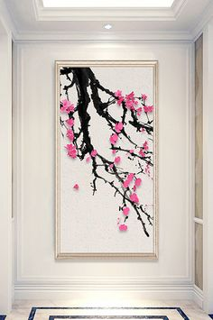 Chinese style ink three-dimensional plum blossom porch decorative painting#pikbest#decors-models New Chinese, Chinese Style, Blossom Tv, Plum Walls, Plum Art, Wedding Stage Design, Cement Walls, Wedding Background, Sign Design
