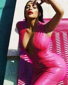 Yesterday, the reality TV star uploaded photos of herself in interesting poses while wearing latex. | Kim Kardashian Is Wearing More Latex In Her Newest Instagram Pics