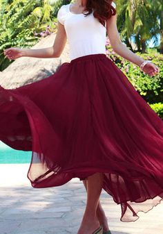 Circle Maxi Skirt - Port // I want this just to twirl in! Gorgeous!