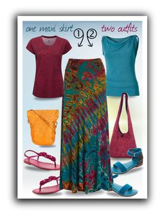 """""""One Maxi Skirt Two Outfits"""" by runners ❤ liked on Polyvore featuring Royal Robbins, NOVICA, Bernardo and Zilla"""