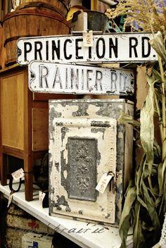 Nice little bread cupboard.Love the signs. Antique Market, Vintage Market, Antique Stores, Vintage Love, Vintage Decor, Vintage Antiques, Rust Never Sleeps, Shop Plans, Love To Shop