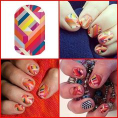Double Crossed #doublecrossedjn #manicure #jamicure #nails #red #geometric #colourful #nailwraps #nailart #nailswag #jamberry #jamberrynails #jamwithkirky