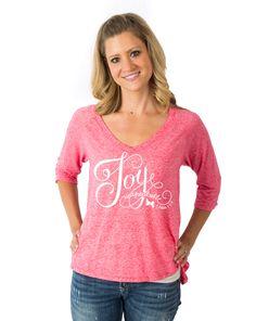 Joy Unspeakable - Juniors Flowy V-Neck on SimplyMandisa.com