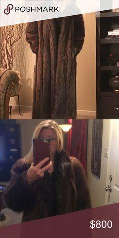 "Long hair beaver fur, real. Barely used. Dark brown beaver fur. Real fur. I'm 5'5"" hits top of shoes. Jackets & Coats"