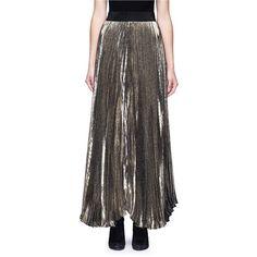 Alice + Olivia 'Katz' metallic plissé pleat maxi skirt (40.045 RUB) ❤ liked on Polyvore featuring skirts, metallic, floor length maxi skirt, elastic skirt, metallic pleated skirt, long pleated skirt and long pleated maxi skirt