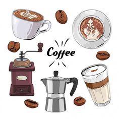 Hand drawn coffee set Premium Vector | Premium Vector #Freepik #vector #food #vintage #menu #coffee Coffee Theme, Coffee Set, Food Stickers, Printable Stickers, Vintage Coffee, Vintage Menu, Café Premium, Cafe Rico, Art Hoe Aesthetic