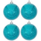 Turquoise Glitter Ball Ornaments