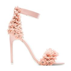 Jeffrey Campbell Meryl Floral Heel Shoes (310 BGN) ❤ liked on Polyvore featuring shoes, heels, flowers, pink, jeffrey campbell shoes, blossom footwear, studded shoes, floral high heel shoes and synthetic shoes