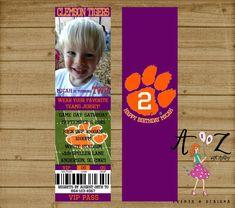 Football Ticket Invitation Clemson by AtoZwithAshleyEvents on Etsy
