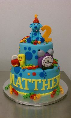 Blues Clues Birthday Cake and matching cookies Kids Birthday Themes, 2 Birthday Cake, Happy Birthday Cakes, Blue's Clues, Aaliyah Birthday, Clue Party, Childrens Meals, Character Cakes, Cake Pictures