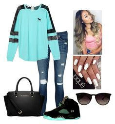 """Hanging with the girls."" by parislanee on Polyvore featuring rag & bone/JEAN, Victoria's Secret, MICHAEL Michael Kors and Ray-Ban"