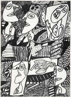 Jean Dubuffet | Portrait d'homme (R167) | Images d'Art Black And White Words, Jean Dubuffet, Art Brut, Sharpie Art, Naive Art, Art Graphique, Outsider Art, Tribal Art, Portrait Art