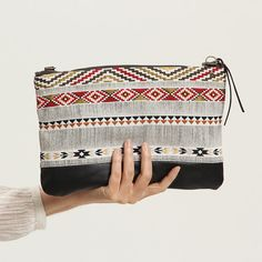 Large ethnic hand bagted and Black clutch ipad by TatinBags