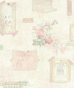 Little Notes Roze / Mint - Behang