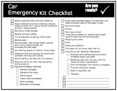 Car Emergency Kit List With Printable  Free Printable