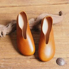 Handmade Women Shoes,Oxford Shoes, Flat Shoes, Retro Leather Shoes, Slip Ons