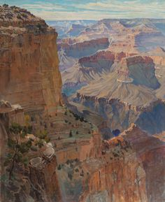 """""""Grand Canyon,"""" Gunnar Mauritz Widforss, oil on canvas, 30 x private collection. Watercolor Landscape, Landscape Art, Landscape Paintings, Nature Paintings, Théo Van Rysselberghe, Most Visited National Parks, Classical Realism, Southwest Art, Grand Canyon National Park"""