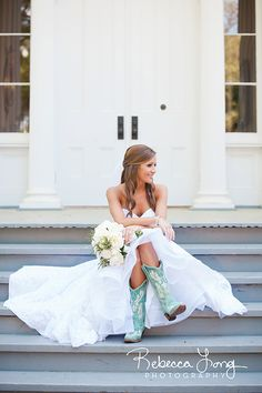 Bride in turquoise boots