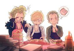 Ahhhh sooo cute! Sanji, Zoro, and Bartolomeo