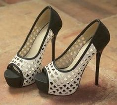 Wholesale Sexy joker hallow-out thin heel pumps SY-C0637 black - Lovely Fashion