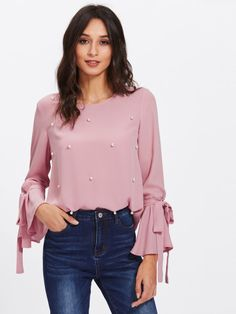 Cheap long sleeve blouse, Buy Quality sleeve blouse directly from China ruffles women tops Suppliers: Dotfashion Pearl Bow Tied Flounce Sleeve Blouse 2017 Pink Round Neck Ruffle Woman Top Long Sleeve Blouse Fashion Online Shop, Pastel Fashion, Chiffon Blouses, Women's Blouses, Chiffon Tops, Blouse Online, Types Of Sleeves, Blouse Designs, Blouses For Women