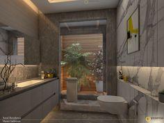 Designed and styled by Monica Chawla of Essentia Environments. Bathroom Crafts, Bathroom Designs, Bathroom Ideas, Toilet Design, Luxury Bathrooms, Modern House Plans, Washroom, Toilets, Tile Patterns