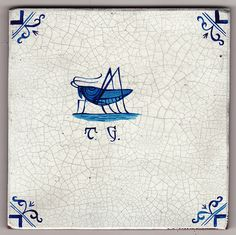 Delft tile painting by Paul Bommer Grasshopper, symbol of Thomas...