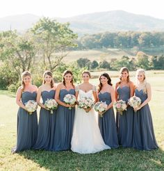 Steel grey/blue bridesmaids dresses
