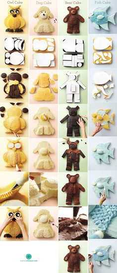 DIY Instructions for Cakes.Owl, dog, bear or fish.