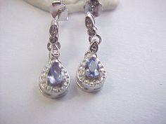 .25tcw genuine tanzanite and diamond drop earrings sterling silver #Unbranded #DropDangle