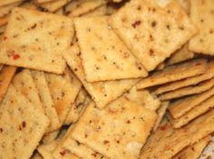 Spicy Crackers with Canola Oil, Hidden Valley Ranch Mix, Crackers, and Chile Flakes...one of our softball moms makes this but uses 2 c oil, 2 packets of dressing mix, 1 tbsp cayenne powder, and 1tbsp chile flakes.   YUMMMMM!
