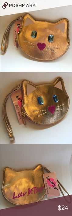 """Betsey Johnson rose gold cat coin purse wristlet Super cute Betsey Johnson rose gold cat coin purse wristlet.  Measures 7""""wx5""""h, ears are .5"""" higher.  NWT! Betsey Johnson Bags Clutches & Wristlets"""