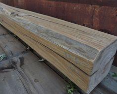 "Reclaimed Fireplace Mantel (62-1/8"" x 7-1/2"" x 7-1/2"") - Rustic Mantle Shelf - Barn Beam Mantel - Over 100 Year Old Barnwood by Harvestbilt on Etsy"