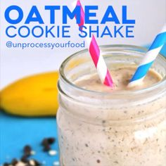 Oatmeal Cookie Smoothie Shake: 1 frozen banana 1/4 cup raw oats 1/2 tsp cinnamon  2 TBSP maple syrup 1 TBSP almond butter 1/2 cup almond milk 1 tsp vanilla Chocolate chips (70%+)  Put all ingredients in the blender and mix until smooth