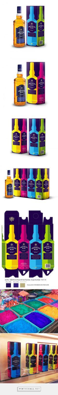 Imperial Blue Holi whisky packaging design by Khurram Haque - http://www.packagingoftheworld.com/2016/10/imperial-blue-holi.html