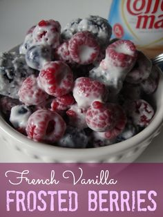 French Vanilla Frosted Berries!  A cool frosty dessert (you could even eat it for breakfast!) It's not only delicious, it's Low-Calorie too!