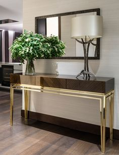 36 Nice Entryway Console Table Design And Decor Ideas - As you are probably aware, when it comes to decorating sometimes the smallest touch can make the biggest impression. For example, the entryway in a ho. Entryway Console Table, Modern Console Tables, Entryway Decor, Modern Entryway, Console With Mirror, Entryway Paint, Narrow Console Table, Foyer, Luxury Furniture