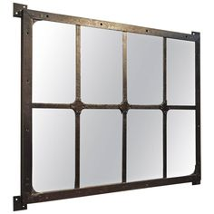 19th Century French Factory Industrial Riveted Iron Mirror | From a unique collection of antique and modern wall mirrors at https://www.1stdibs.com/furniture/mirrors/wall-mirrors/
