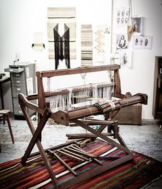 Inspiring weaving studio of Justine Ashbee of Native Line.