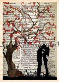 Kissing under a cherry blossom tree, falling in love romantic art print, dictionary art print