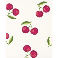 Serena & Lily Cherries Wallpaper (26 CAD) ❤ liked on Polyvore featuring home, home decor, wallpaper and serena & lily
