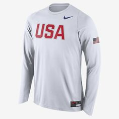 65d0f2522 Authentic Men s Nike White USA Basketball Shooter Long Sleeve T-Shirt from  the only Official store of USA Basketball. Support USA Basketball in Rio  2016 and ...
