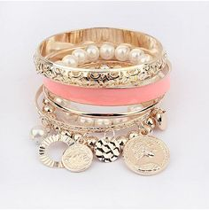Best sale 2016 Fashion New style exquisite hollow Bracelet Bangle Coins Avatar Pearl bead charm bangles